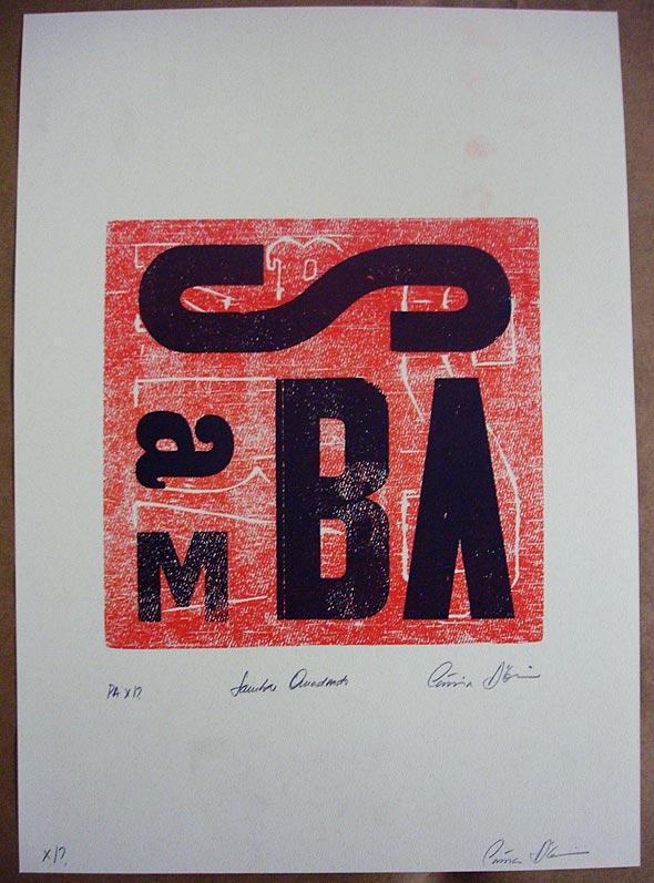 Cartaz produzido com tipografia manual, por Cássia D'Elia