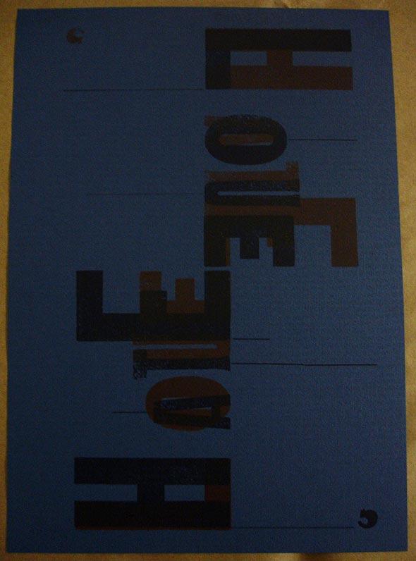 Cartaz produzido com tipografia manual, por Gina Muccillo