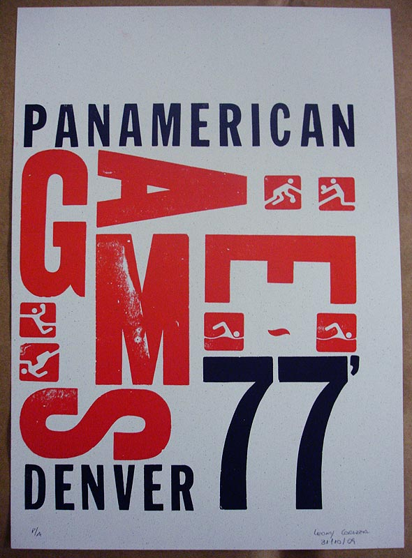 Cartaz produzido com tipografia manual, por Leony Corazza