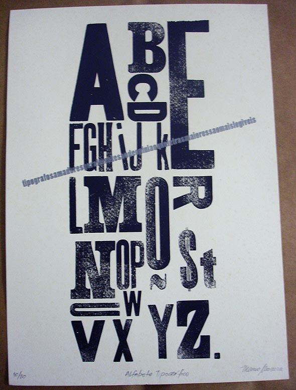 Cartaz produzido com tipografia manual, por Marco Moreira
