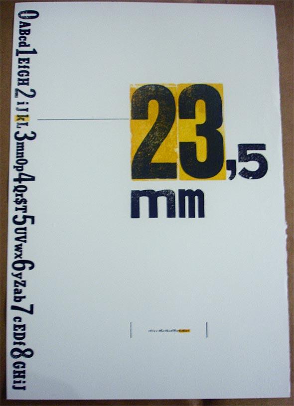 Cartaz produzido com tipografia manual, por Rogério Fratin