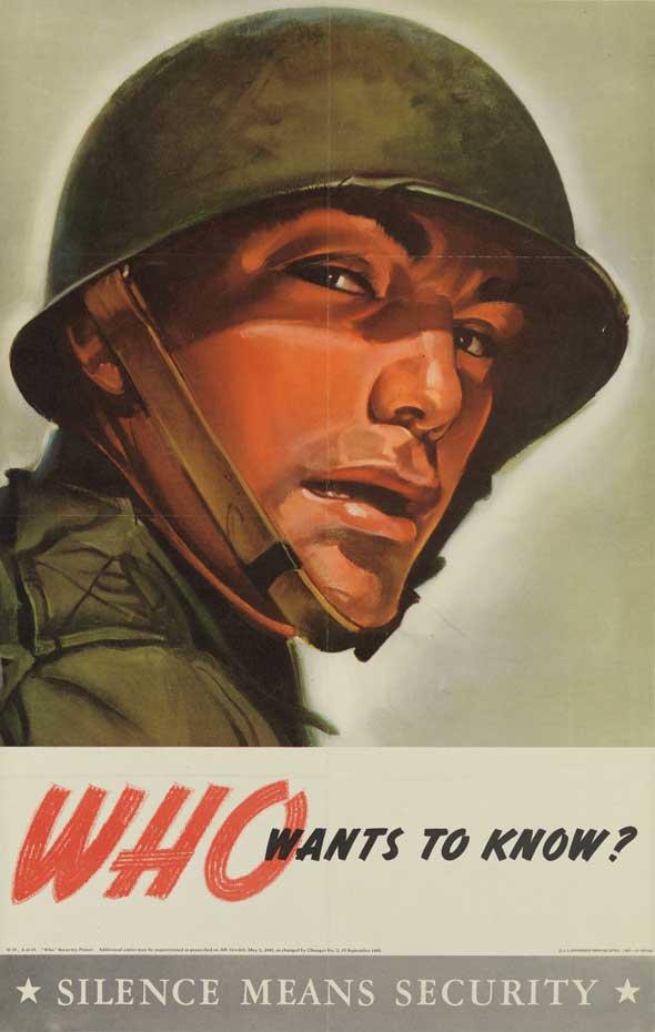 """Cartaz """"fique em silêncio"""" da Segunda Guerra Mundial"""