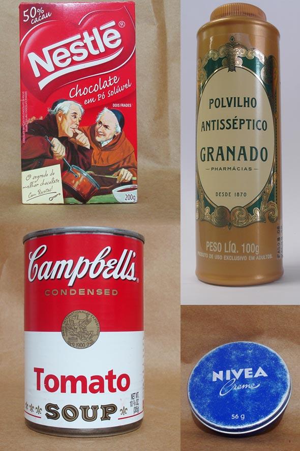 """Embalagens do Chocolate """"do Padre"""", do Antisséptico Granado, sopa Campbell's e Creme Nívea"""