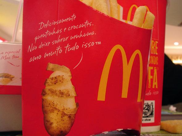 Batada descascada na embalagem das Mc Fritas
