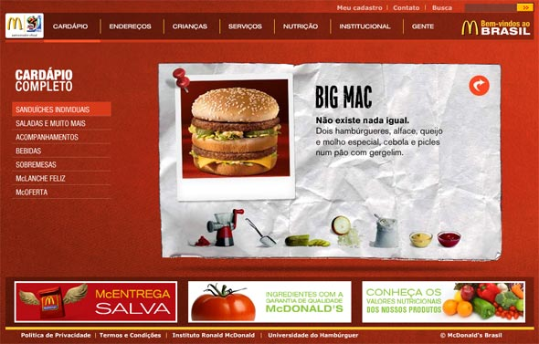 Site do Mc Donalds