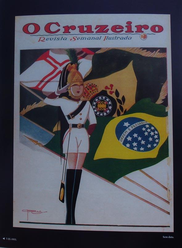 Página interna com a revista O Cruzeiro, no livro Lábaro Estrelado, de J. Carlos