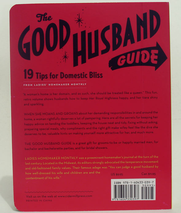 Quarta capa do livro The Good Husband Guide