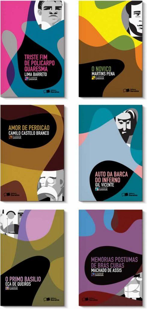 Capas dos livros da Coleção Clássicos Saraiva, criadas por Gustavo Piqueira