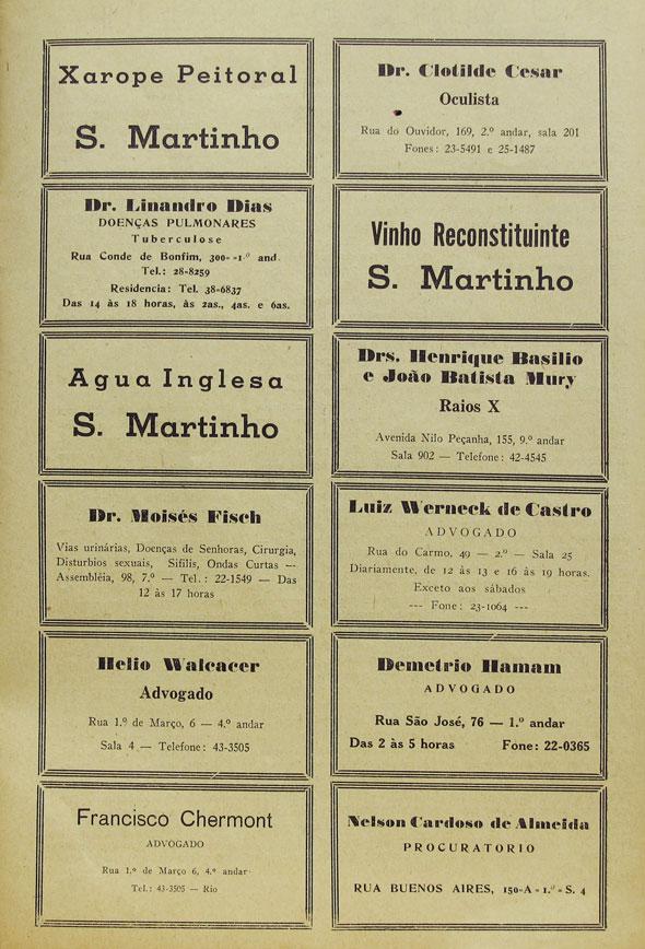 Página de classificados all type da Revista Esfera, de março de 1946