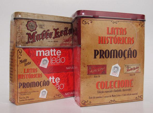 Embalagem de Chá Matte Leão retro