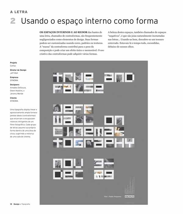 "Página do livro ""Design e Tipografia - 100 fundamentos do design com tipos"", da Editora Blucher"