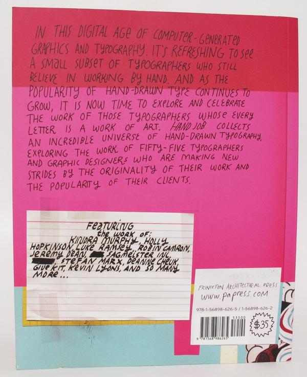 Quarta capa do livro Hand Job