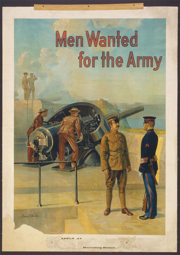 Cartaz da Primeira Guerra Mundial, publicado entre 1910 e 1915