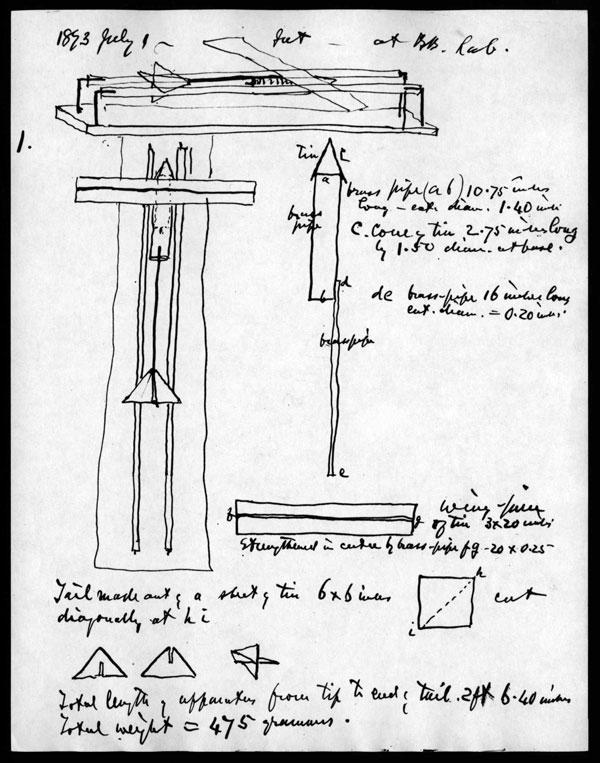 """Sketch do """"gyroscope"""", de Graham Bell"""