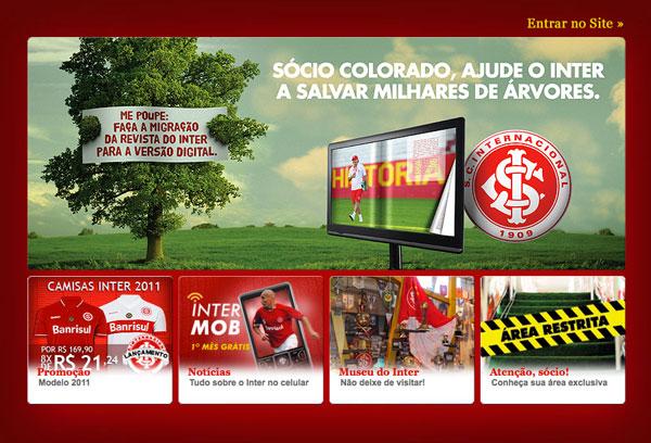 Imagem de abre do site do time Internacional de Porto Alegre