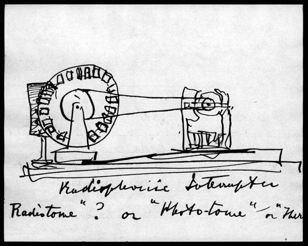 "Sketch do ""radiophonical interruptor"", de Graham Bell"