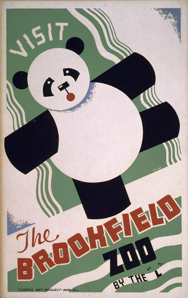 "Cartaz vintage de ""Visite o Zoológico"", Illinois, entre 1936 e 1938"