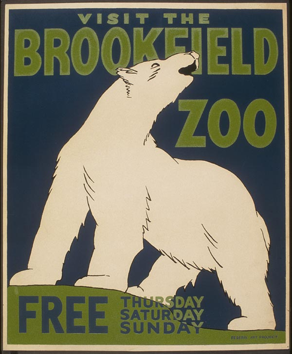 "Cartaz vintage de ""Visite o Zoológico"", Illinois, 1936"