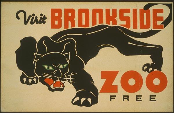 "Cartaz vintage de ""Visite o Zoológico"", Illinois, 1937"