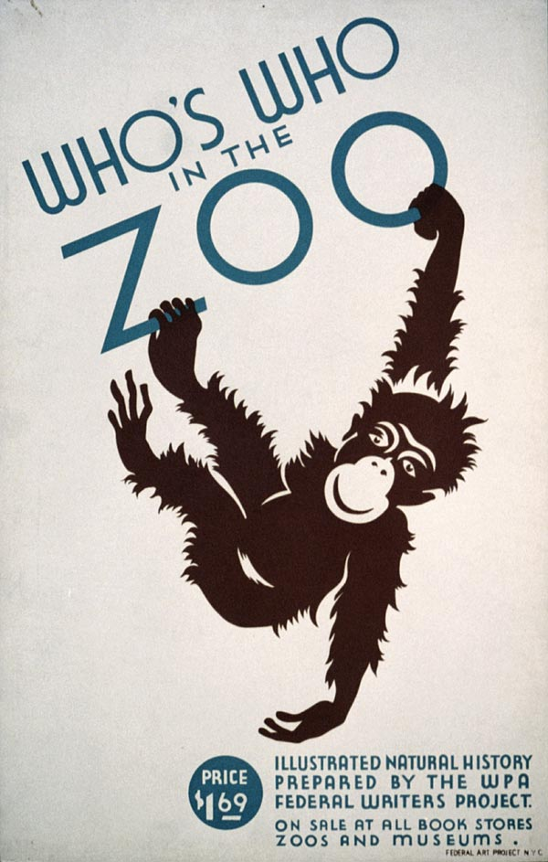 "Cartaz vintage de ""Visite o Zoológico"", NYC, entre 1936 e 1937"