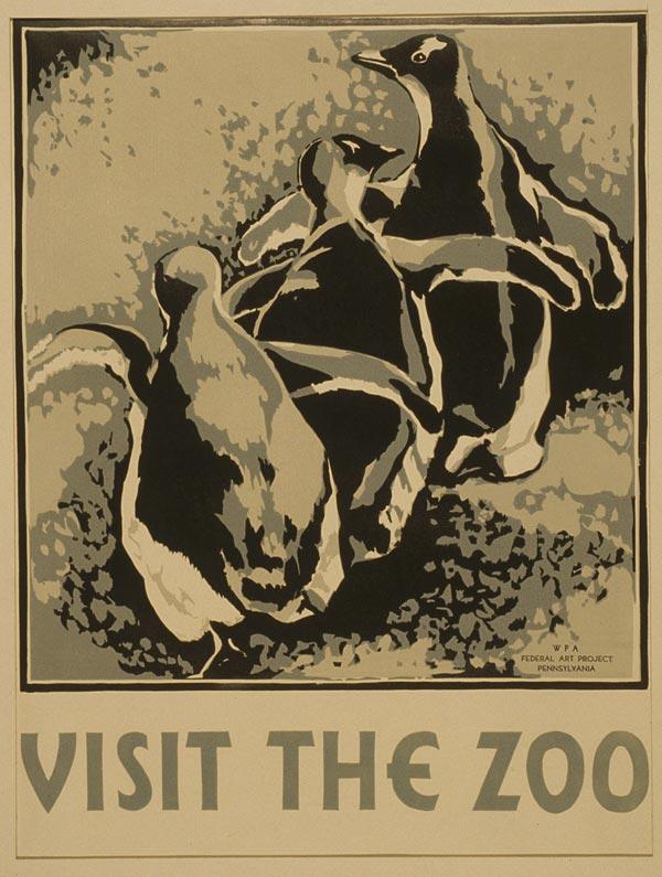 """Cartaz vintage de """"Visite o Zoológico"""", Pennsylvania, entre 1936 e 1937"""