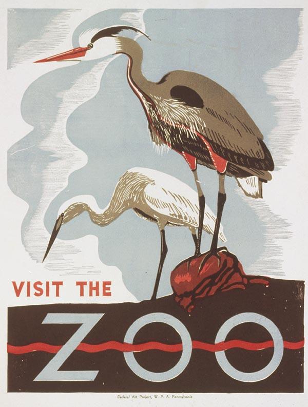 """Cartaz vintage de """"Visite o Zoológico"""", Pennsylvania, entre 1936 e 1941"""