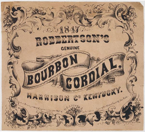 Rótulo vintage de whiskey, de 1857