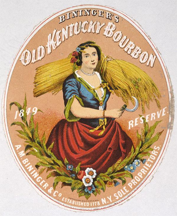 Rótulo vintage de whiskey, de 1860