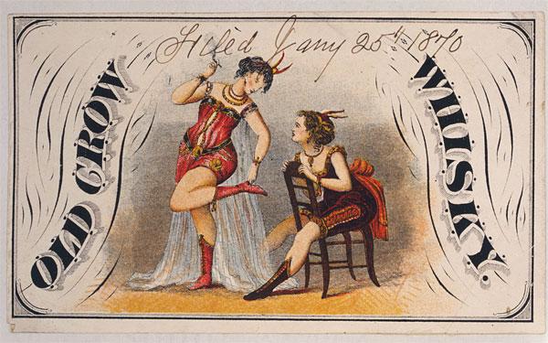 Rótulo vintage de whiskey, de 1870