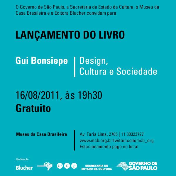 """""""Flyer"""" do lançamento do livro Design, Cultura e Sociedade, de Gui Bonsiepe"""
