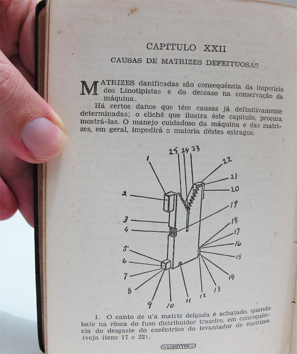 O Mecanismo da Linotype - Defeitos nas matrizes