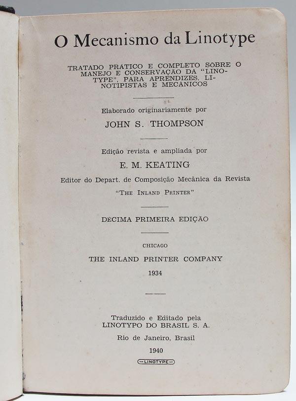 O Mecanismo da Linotype - Folha de rosto