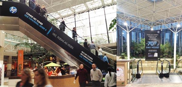 Escada rolante com publicidade da HP