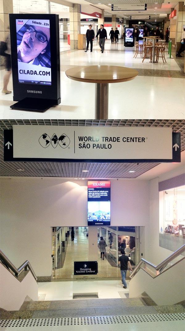 Sequência de telões no Shopping Nações Unidas