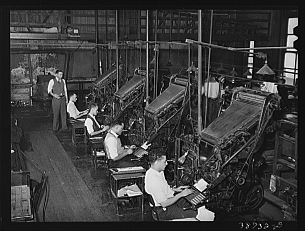 Operadores de Linotype, abril de 1942, Illinois