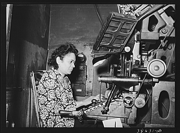 Operador de Linotype, abril de 1941, Illinois