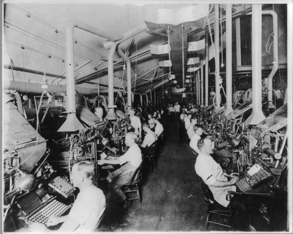 Operadores de Linotype, 1902, Nova York