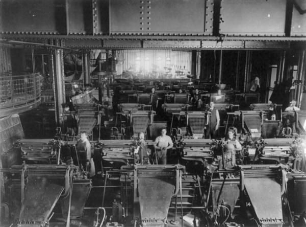 Operadores de Linotype, 1909, Nova York