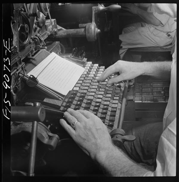 Operador de Linotype, 1942, Nova York