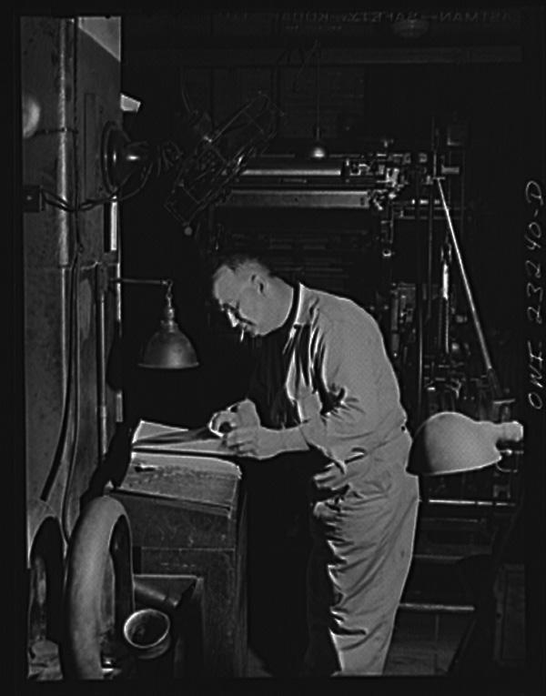Operador de Linotype, 1943, Texas