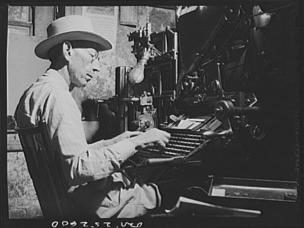 Operador de Linotype, 1943, Texas